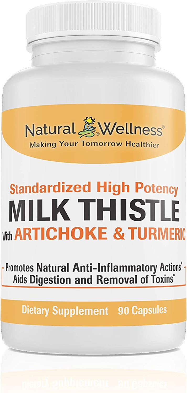 Natural Wellness Milk Thistle (Silybum Marianum), Artichoke (Cynara Scolymus), and Turmeric (Curcumin C3 Complex) - High Potency Liver Support Supplement, 30 Day Supply (90 Capsules)