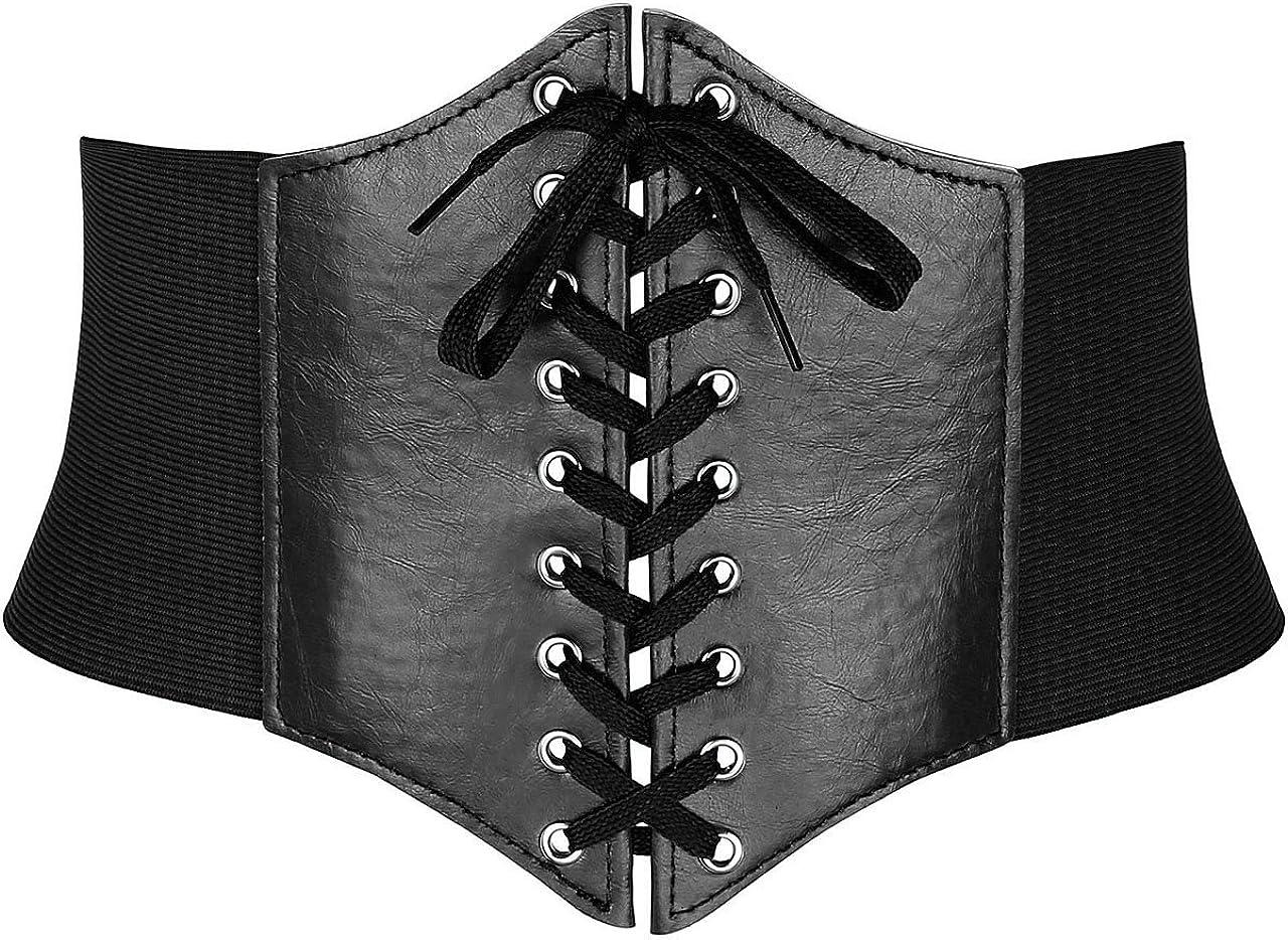 Ayliss Women Elastic Wide Band Tied Waspie Corset Waist Cincher Belt, Black at  Women's Clothing store