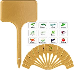 VYNOPA Herb Markers Reusable Metal Planting Labels Tags with 12 Plant & Vegetables Labels Stickers for Indoor Outdoor Garden and Pots