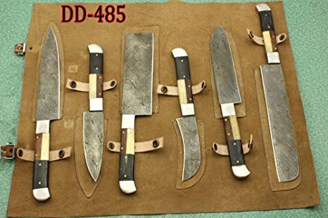 Custom Hand Made 7PCS Damascus Blade Kitchen Set with leather pouch