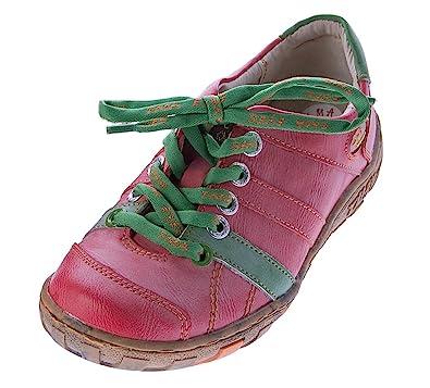 5a1d2b035cafb5 TMA Leder Damen Halb Schuhe Comfort Sport Sneakers Schnürer Used Look  Schwarz Grün Rot Turnschuhe  Amazon.de  Schuhe   Handtaschen