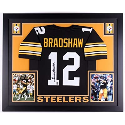 differently fab1a 78284 Terry Bradshaw Autographed Black Steelers 35X43 Custom ...