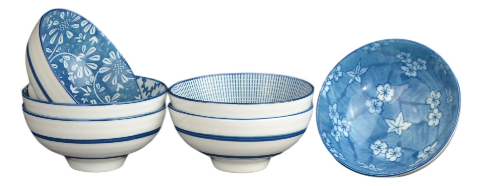 8 - Ounce Porcelain Bowl Sets with Free 6 Porcelain Spoons Set of 6 Blue and White (Blue7)