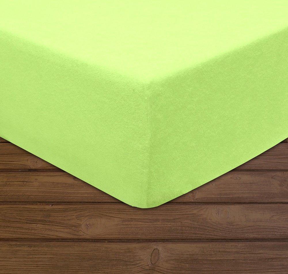 Éponge Drap Housse différentes tailles et couleurs, Coton mélangé, BLASSGRÜN, 90 x 200 cm