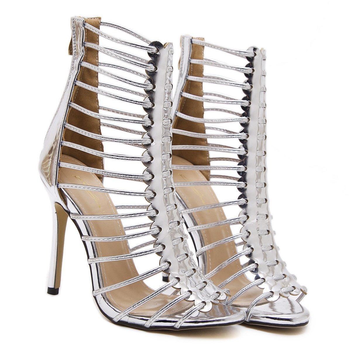 RUGAI-UE Damen High Heel Schuhe, hochwertige, Sommer, Europa und Amerika, hochwertige, Schuhe, dünne und große Sandalen. silvery ab7843