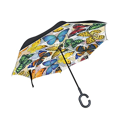 image about Umbrella Pattern Printable titled AIDEESS Butterfly Practice Print Motor vehicle Inverted Umbrella Out of doors, Windproof And UV Evidence Opposite Folding Umbrella With C-Fashioned Fingers Cost-free Manage