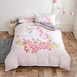 JUMJEE Bedding Cover Set 3 Pieces Duvet Cover Set with Unicorn Printings 1 Duvet Cover 2 Pillowcases Comforter Cover with 3D Modern Pattern Printing (Unicorn Flowers, Queen)