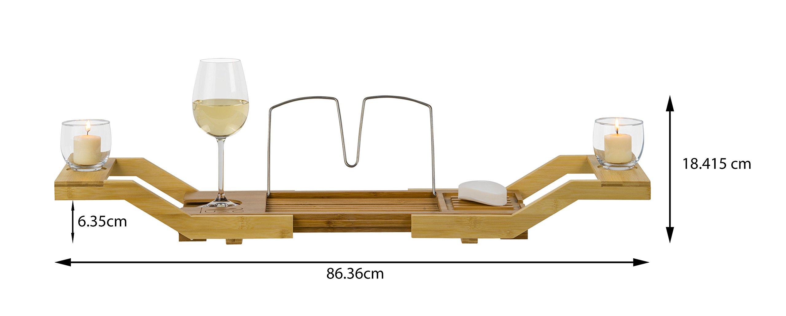Luxe Expandable Bamboo Bathtub Caddy Adjustable Wooden Serving Tray & Organizer w Book Reading Rack, Wine Glass Holder by Luxe (Image #7)