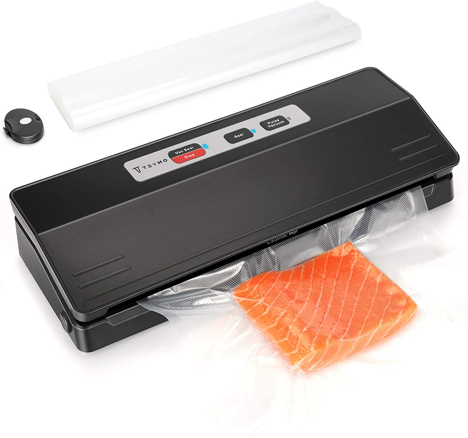 TSYMO Vacuum Sealer Machine - 100 Times Consecutive Seals, -70Kpa Automatic Food Saver Vacuum Packing Machine for Food Preservation with 10Pcs Bags Starter Kit, Pulse Vacuum, Led Indicator Lights