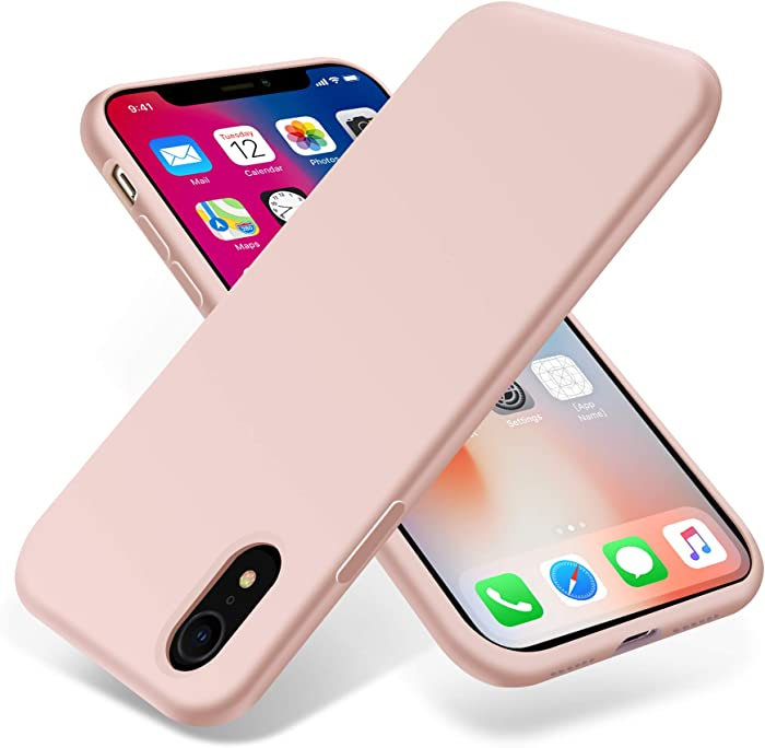 OTOFLY for iPhone XR Case, [Silky and Soft Touch Series] Premium Silicone Rubber Full-Body Protective Bumper Case Compatible with Apple iPhone XR 6.1 inch, (Pink Sand)