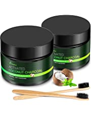 MayBeau Teeth Whitening Powder, 2 x 60g Natural Activated Charcoal Powder Mint Flavor, Coconut Charcoal Teeth Whitener with Toothbrush for Removing Stains