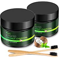 MayBeau Teeth Whitening Powder, 2 x 60 Gram Natural Activated Charcoal Powder Mint Flavor, Coconut Charcoal Teeth Whitener with Toothbrush for Removing Stains