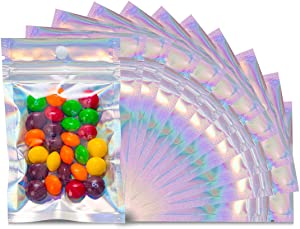 100PCS Smell Proof Bags, Resealable Foil Pouch Bags, Mylar Ziplock Food Storage Bags with Clear Window, Packaging Pouch for Party Favor Food Storage Coffee Beans Candy Nuts, 3 X 4.7 In