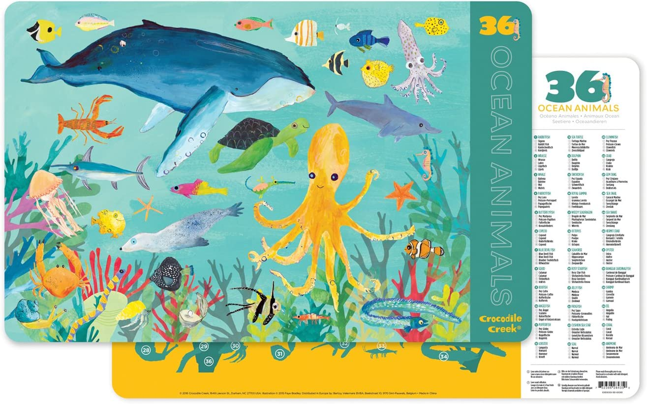 Crocodile Creek 2843-5 36 Ocean Animals 2-Sided Placemat, Teal/Yellow/Green/Blue