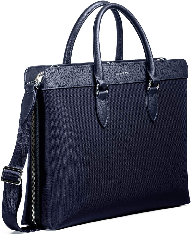 Maverick /& Co Navy Alpha Leather-Trimmed Briefcase