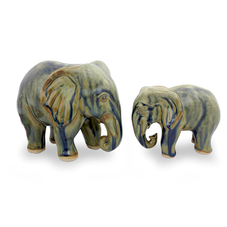 Celadon Ceramic statuettes NOVICA 223924 Lovely Family in Blue Brown Pair