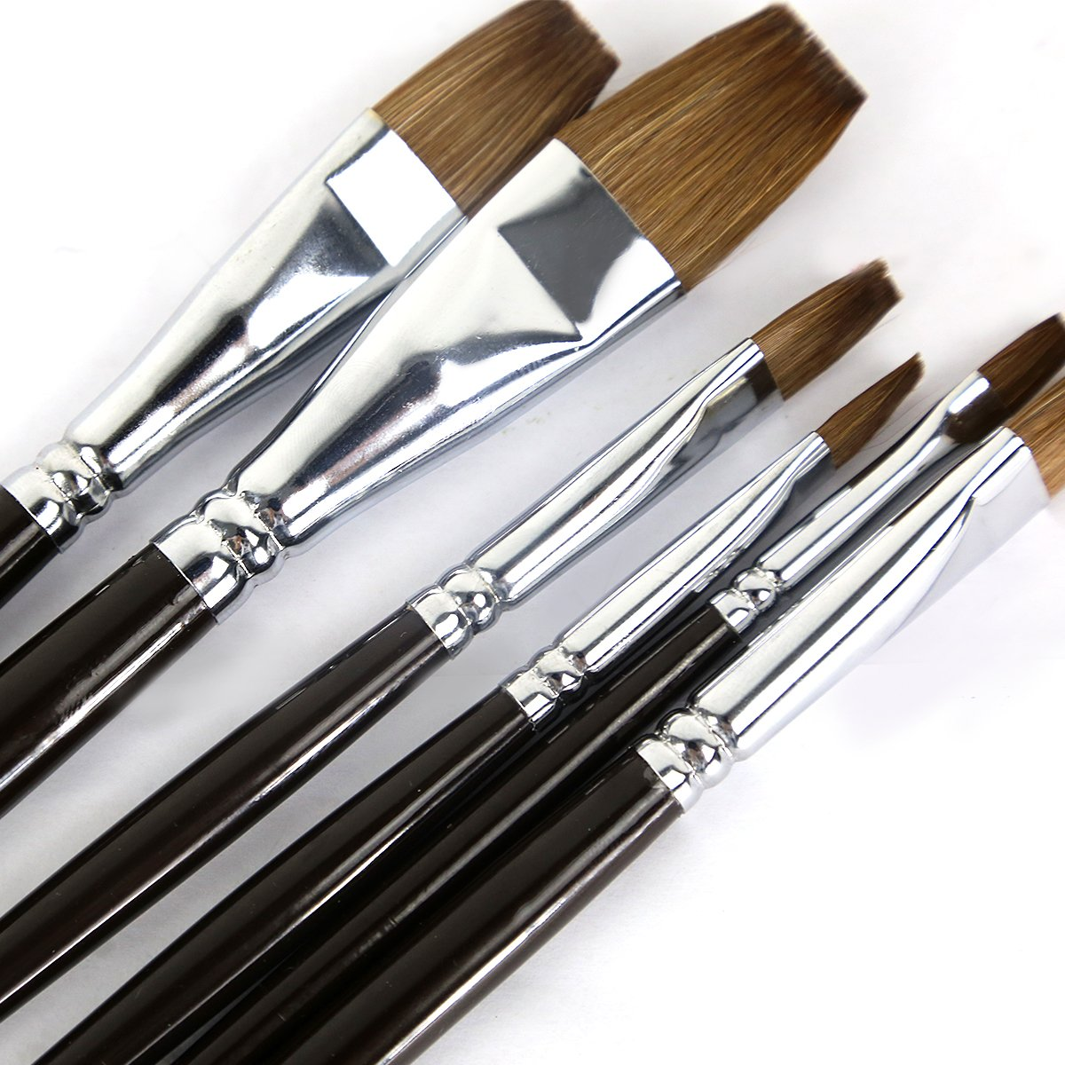 Artist Paint Brushes - Top Quality Red Sable (Weasel Hair) Long Handle, Flat Paint Brush Set for Acrylic, Oil, Gouache and Watercolor Painting Offering Excellent Paint Holding and Easy Flow of Paint by Magic Touches Making Life Magical