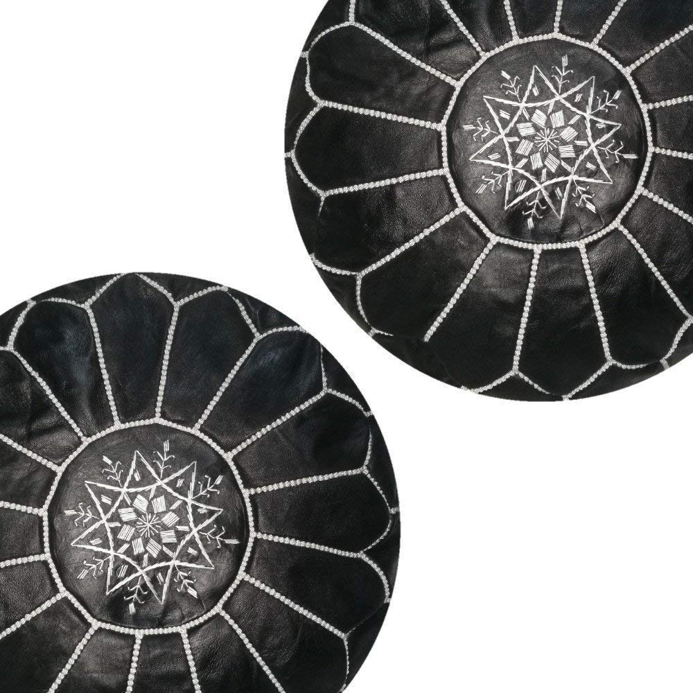 set of 2 premium handmade leather moroccan pouf ottoman round modern coffee table poofs black Unstuffed