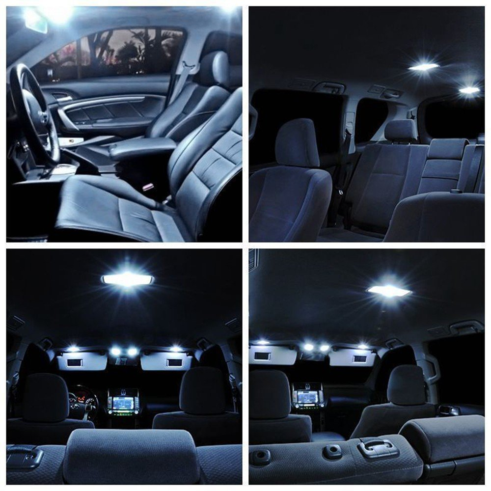 Fezz 10Pcs Bombillas LED Coche Interior Luz Paquete Kit Blanco