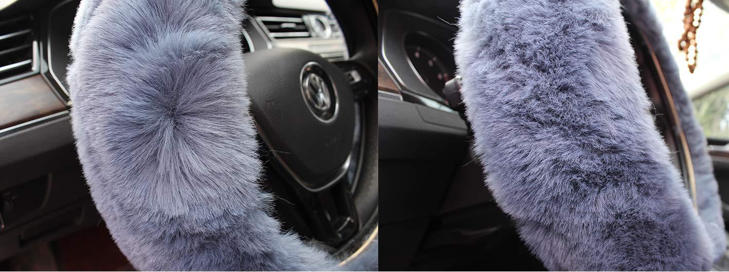 EIGIIS Universal Plush 15 Inch Car Steering Wheel Cover with Shift Handbrake Cover for Men Women Soft Anti-Slip Fuzzy Steering Wheel Cushion Protector