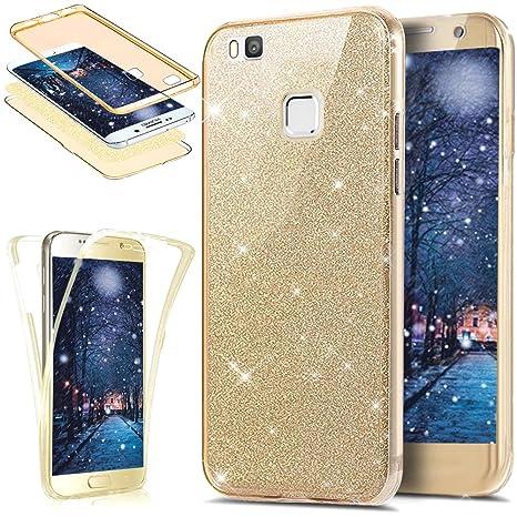 Funda Huawei P9 Lite,Carcasa Huawei P9 Lite,Brillantes Lentejuelas Estrella Brillo Transparente TPU Silicona 360°Full Body Fundas Skin Cover Carcasa ...