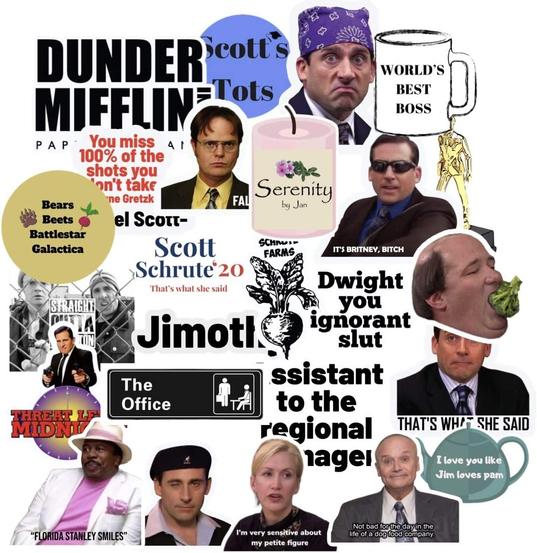 The Office Stickers 25 Pack- The Office Stickers for laptops, Dunder Mifflin Stickers, The Office Laptop Stickers, Funny Stickers for Laptops, Computers, Hydro Flasks, iPhones, Pop Culture Stickers
