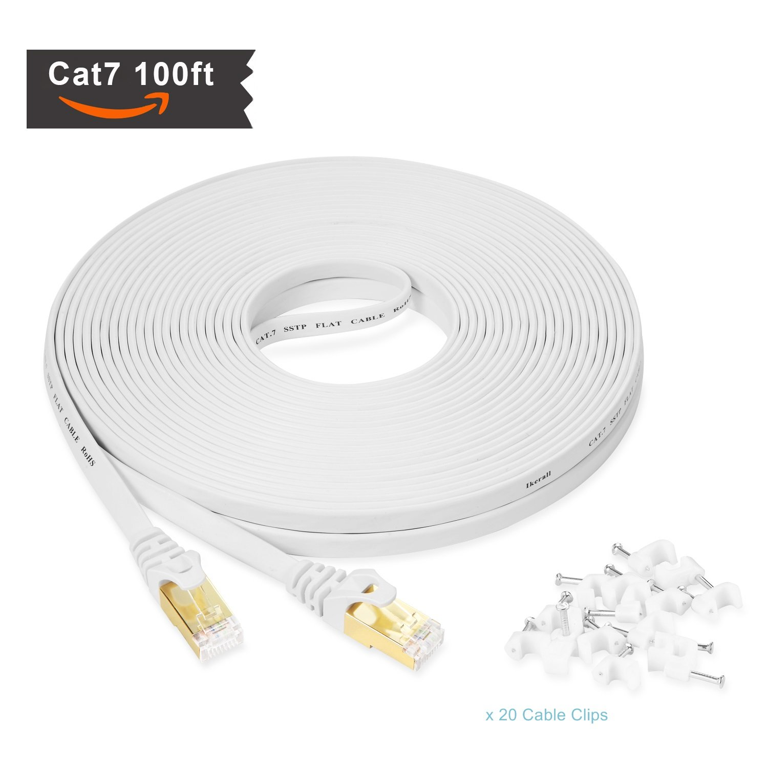 Amazon.com: Ikerall Cat7 Ethernet Cable 100 ft High Speed White – 10GB fastest Shielded (STP) Computer Internet Cable Flat Lan Internet wire With Snagless ...