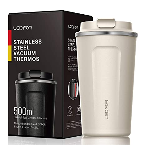 9347fd884a1 Amazon.com: Insulated Tumbler Coffee Travel Mug Vacuum Insulation Stainless  Steel with Lid Leakproof BPA-Free 17oz Cream White: Kitchen & Dining