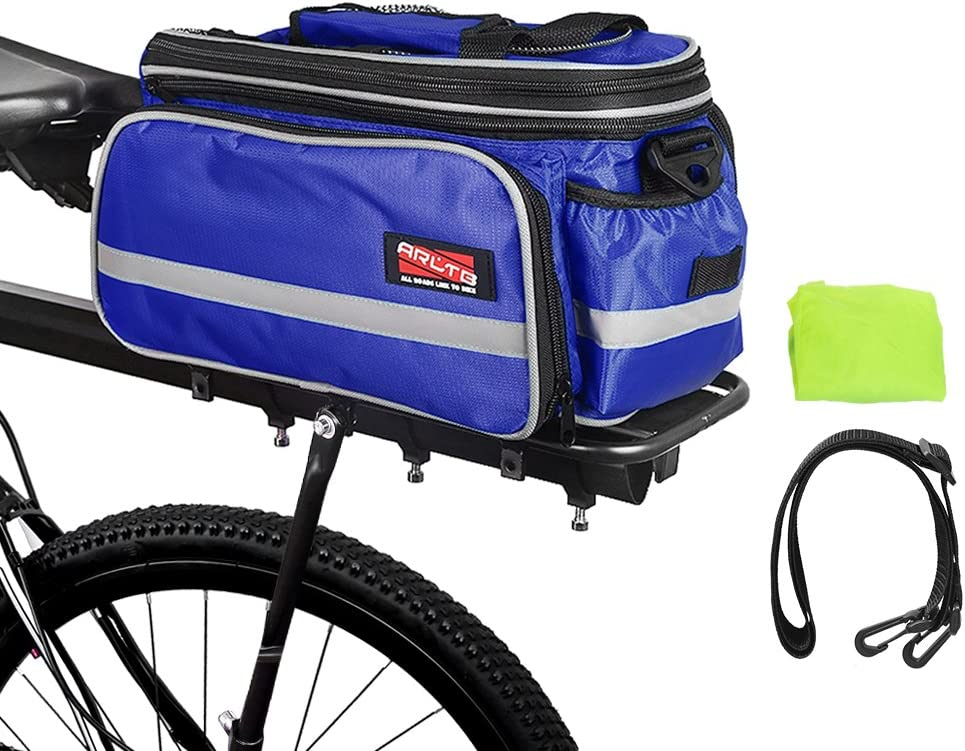 Arltb Bike Rear Bag 3 Colors 15-25L Waterproof Bicycle Trunk Bag with Rain Cover Shoulder Strap Bike Pannier Tail Back Seat Bag Package Handbag Bike Accessories for Road Bikes Mountain