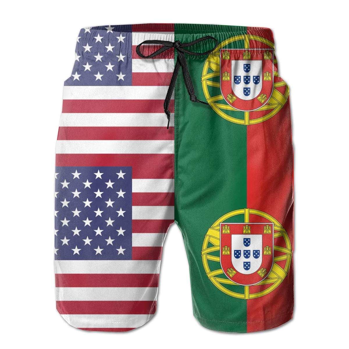 TBVS 79 Portugal American Half Flag Mens Slim Fit Boardshort with Side Pockets