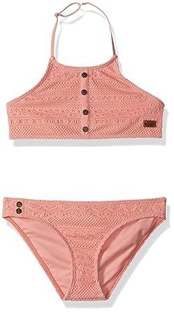 5e921882dd8bb Amazon.com: Roxy Big Girls' Faded Sun Crop Top Swimsuit Set: Clothing