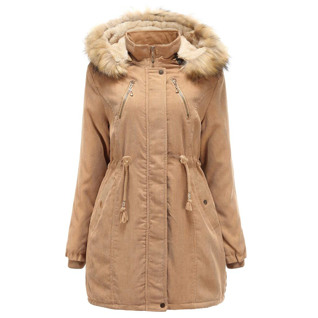 〓COOlCCI〓Women Wool & Pea Coats,Warm Fur Collar Long Coat Hooded Slim Winter Parka Outwear Jacket Zip Up Military Anorak Khaki by COOlCCI_Womens Clothing