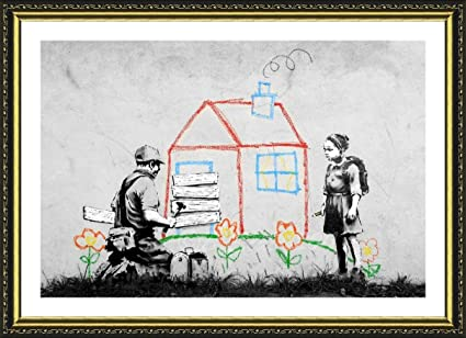 Amazon.com: Alonline Art - Crayon House Banksy Gold Framed Poster ...