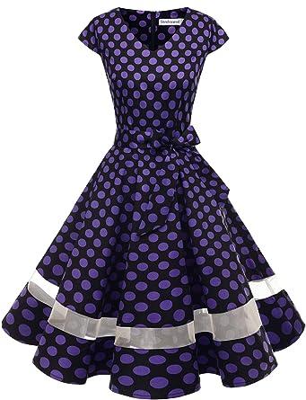 c7b37f61e8a Gardenwed Women's 1950s Rockabilly Cocktail Party Dress Retro Vintage Swing  Dress Cap-Sleeve V Neck