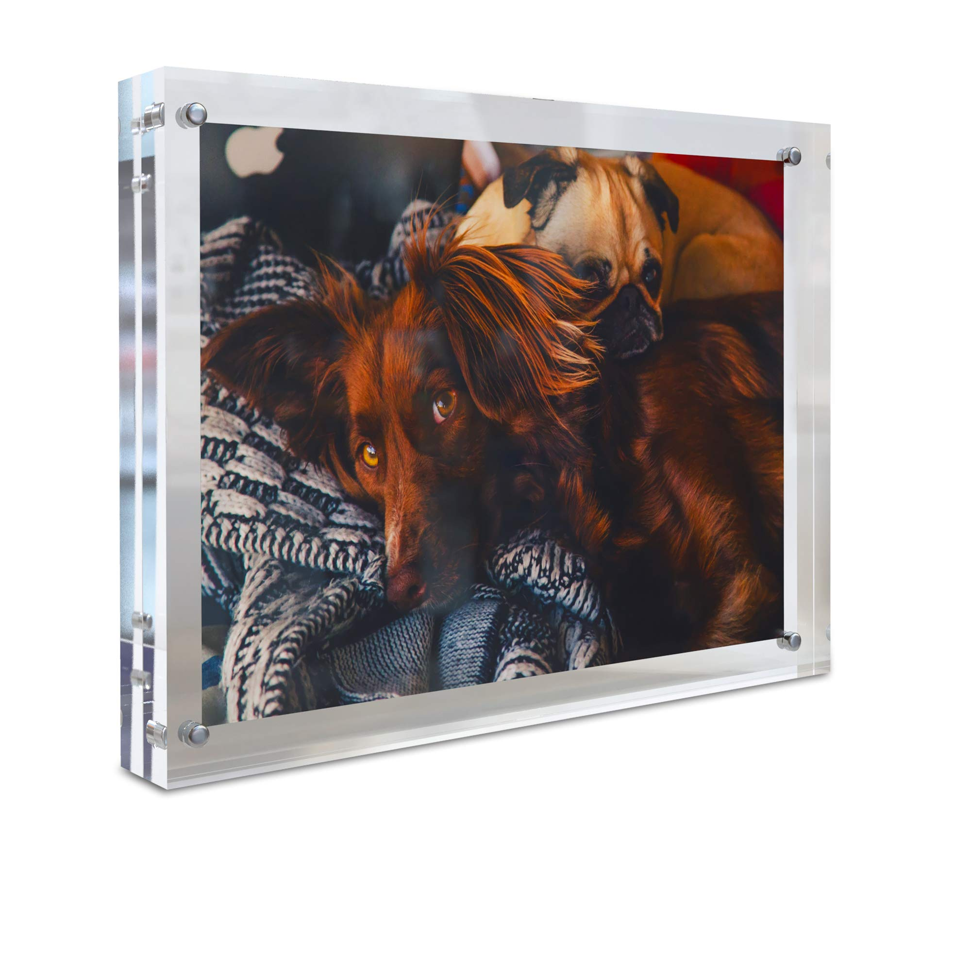 MÍRA-K Acrylic Picture Frame 6 x 8 with Magnetic Closure | Crystal Memories | Double Sided Frameless Lucite Photo Frame for Tabletop | Decorative Keepsake Display for Tickets, Postcards and Awards