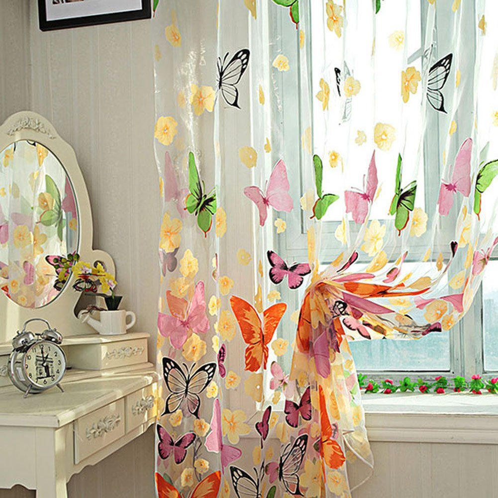 Amazon.com: PanDaDa Door Balcony Window Screen Curtain Tulle Panel Butterfly  Valance: Home U0026 Kitchen