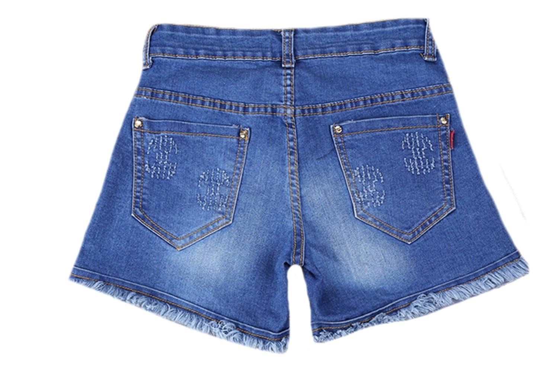 MLG Womens Casual Pockets Ripped Tassel Hem Slim Jeans