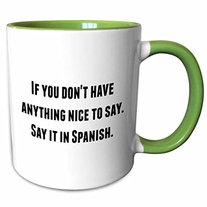 3drose Brooklynmeme Funny Saying If You Dont Have Anything Nice To Say Say It In Spanish 15oz Two Tone Green Mug Mug 221855 12