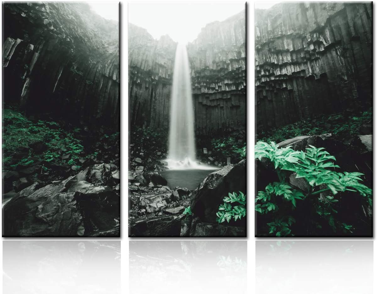 3 Pcs Canvas Wall Art Waterfall in Skaftafell National Park,Glacier Landscape Vertical Picture Gallery Wrapped Giclee Canvas Print A Wonderful World Paintings Ready to Hang for Kitchen Decor 28''x42''