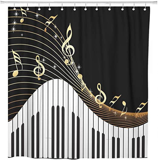 Bath Decor Music Notes Waterproof Polyester Fabric Shower Curtain 60 x 72 Inch