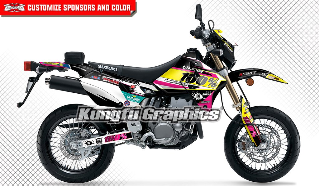 Kungfu Graphics Donuts Custom Decal Kit for Suzuki DRZ400 SM DRZ400S DRZ400SM DR-Z 400 DRZ 400 1999 up to 2018, Black Red