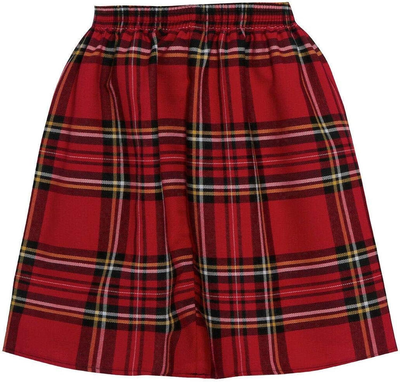 Crazy Girls Womens RED Tartan Skater Mini Plaid Pattern A-Line Ladies New Skirt Elasticated Waist Size 8-16
