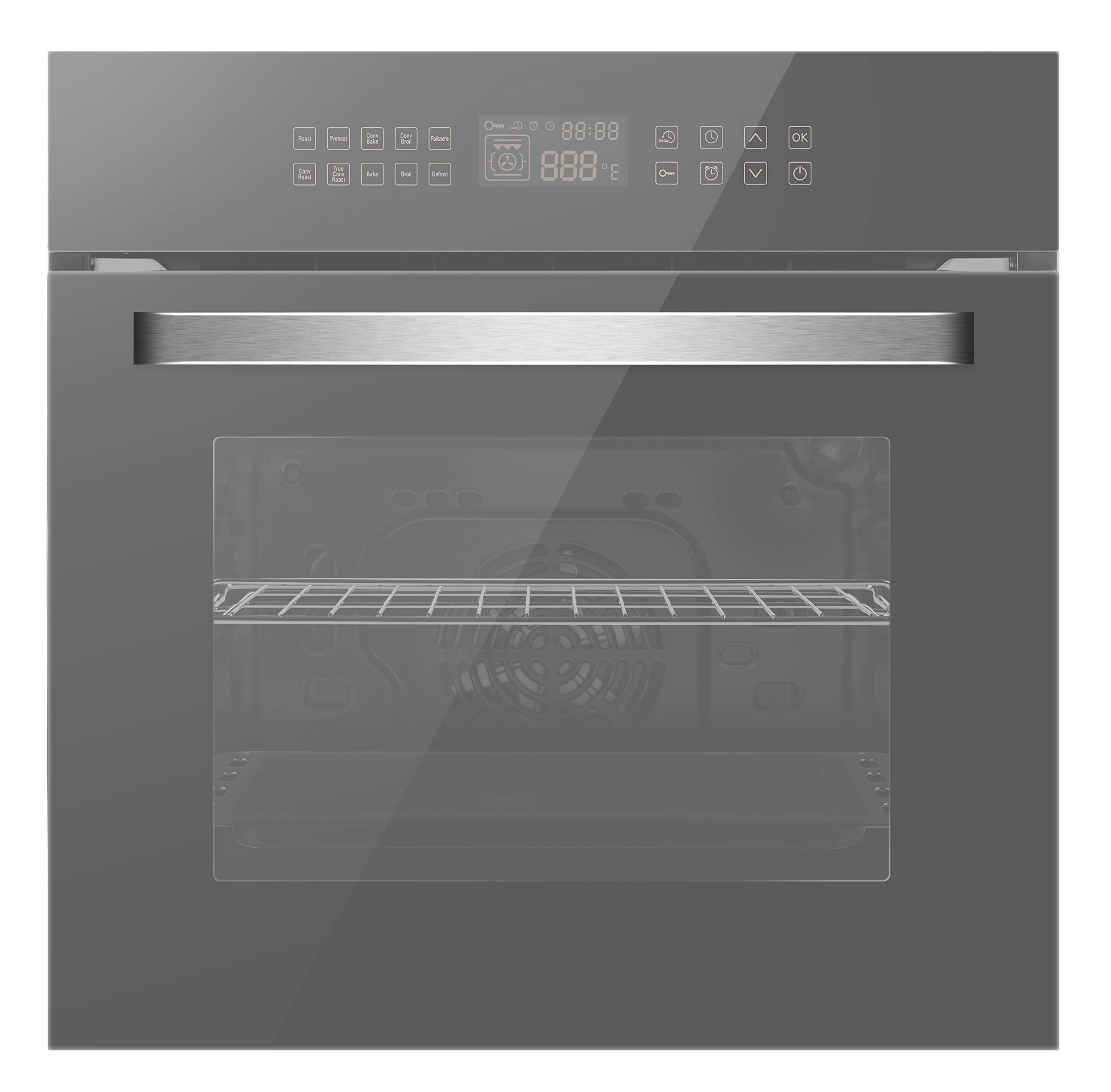 Empava 24'' Electric Single Wall Ovens Convection Fan 10 Cooking Functions Deluxe 360° ROTISSERIE with Sensitive Touch Control in Silver Mirror Glass EMPV-EOC17, C17, Stainless-Steel by Empava