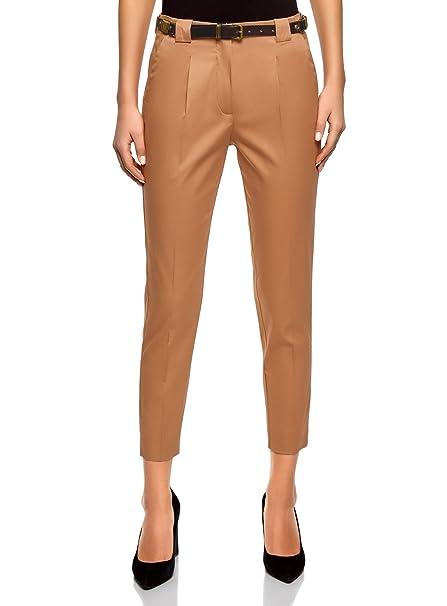 oodji Collection Mujer Pantalones de Algodón con Cinturón  Amazon.es  Ropa  y accesorios 0d5ca66feda