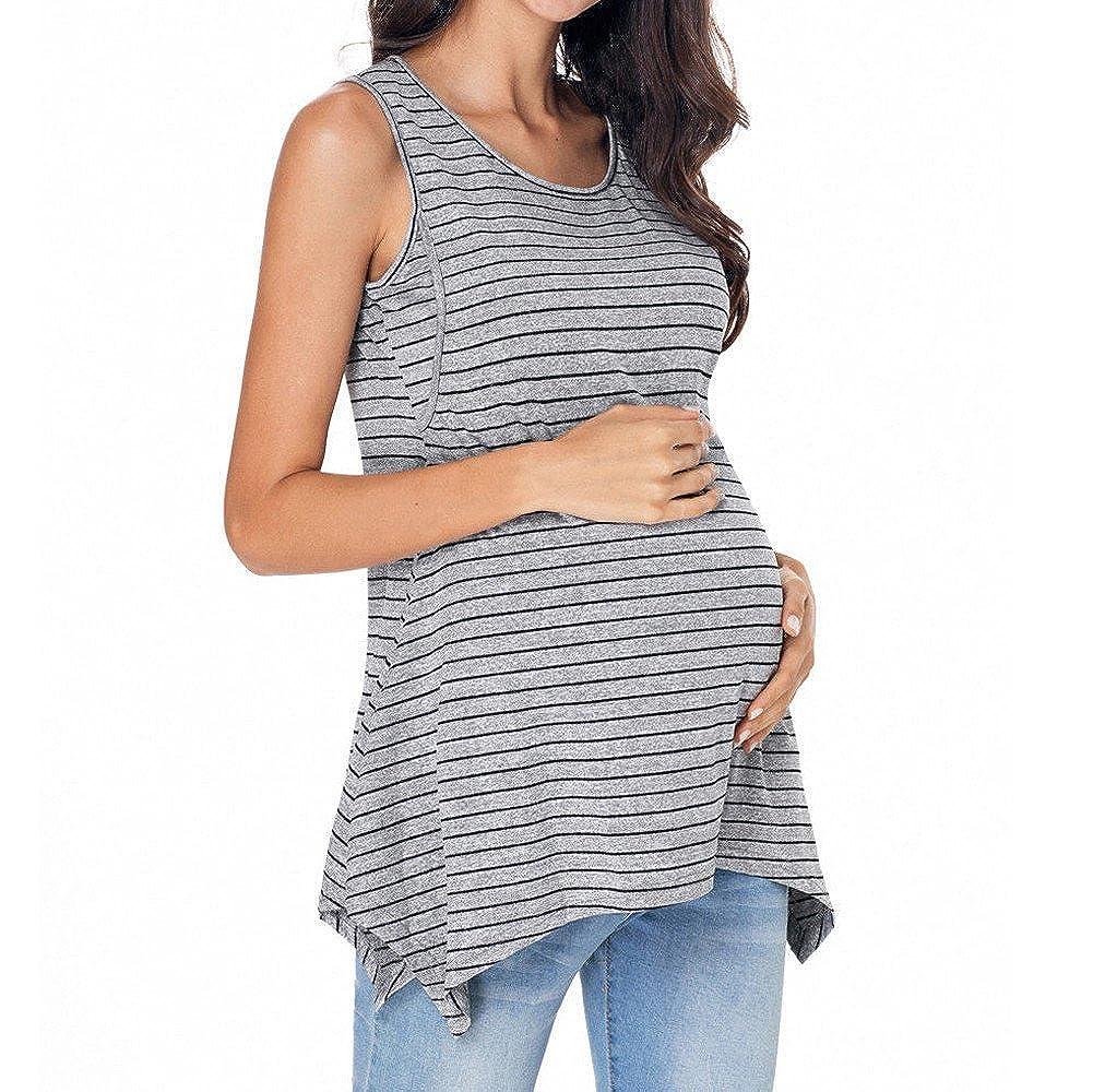 ALIKEEY La Mujer Embarazada Stripe Ropa De Maternidad Lactancia Amamantar Vest Top Blusa Bolso Maternidad Hospital Polipiel Embarazada