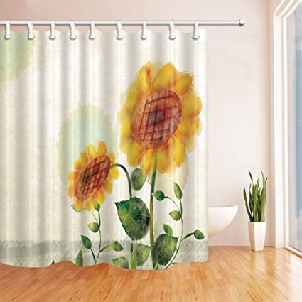 CdHBH Watercolor Sunflower Shower Curtain In Bath 71X71 Inches Mildew Resistant Polyester Fabric Bathroom Fantastic Decorations