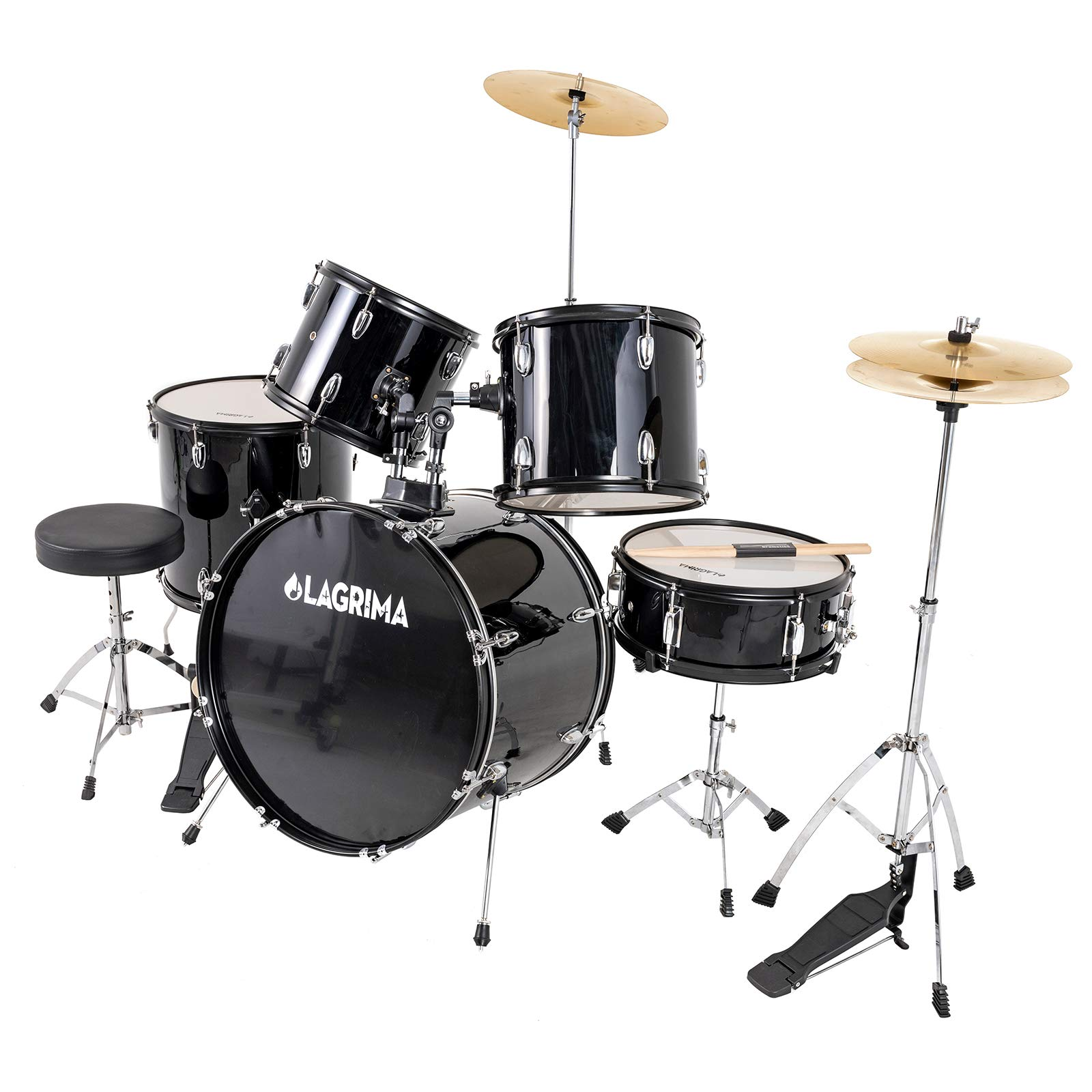 LAGRIMA 5 Piece Full Size Drum Set with Stand, Cymbals, Hi-Hat, Pedal, Adjustable Drum Stool and 2 Drum Sticks for Adult/Kids(Black, 22 Inches) by LAGRIMA
