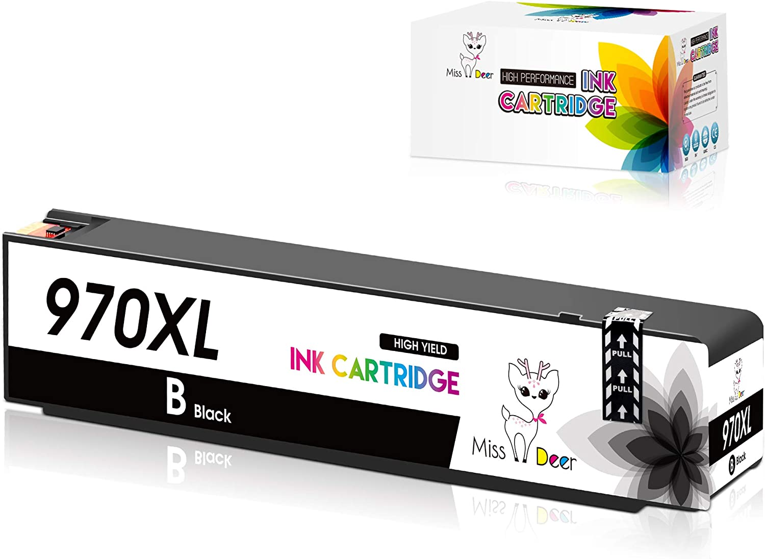 Miss Deer 970XL 971XL 970 971 Black Compatible Ink Cartridges Replacement for HP 970 971 XL,Work for HP Officejet Pro X576dw X451dn X451dw X476dw X476dn X551dw Printer (1 Black)