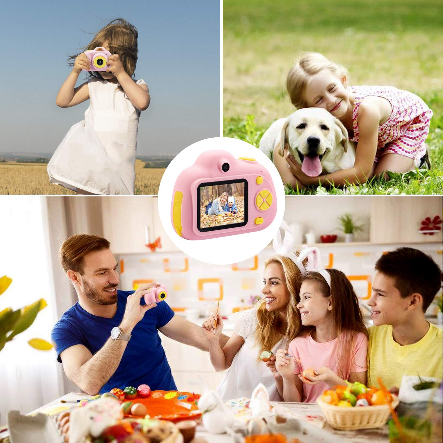 DIIGIITO Kids Camera Gifts for 4-8 Year Old Girls, Shockproof Cameras Great Gift Mini Child Camcorder for Little Girl with Soft Silicone Shell for Outdoor Play,(16GB Memory Card Included) (Pink) by DIIGIITO (Image #5)