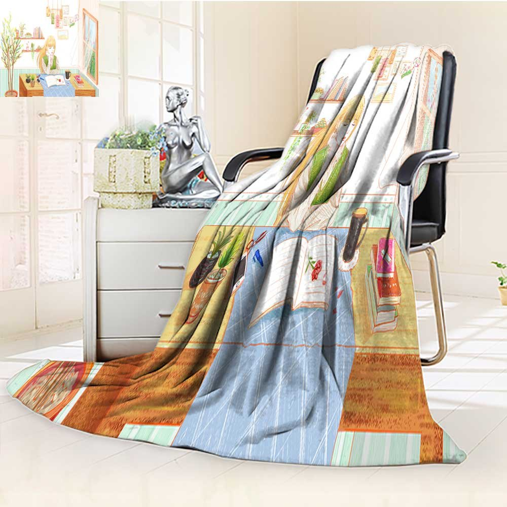 YOYI-HOME Soft Plush Warm Duplex Printed Blanket Autumn Winter A Literary Maiden Reading a Book by The Window Warm Microfiber All Season for Anyone You love/79 W by 47'' H